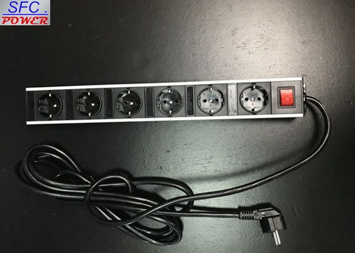 Metal Shell 6 Outlet Power Strip , Germany Socket Power Bar